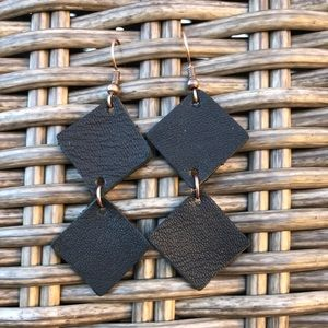 leather earrings abstract Anthro inspired Black